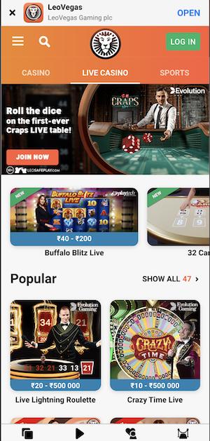 LeoVegas India Mobile Casino