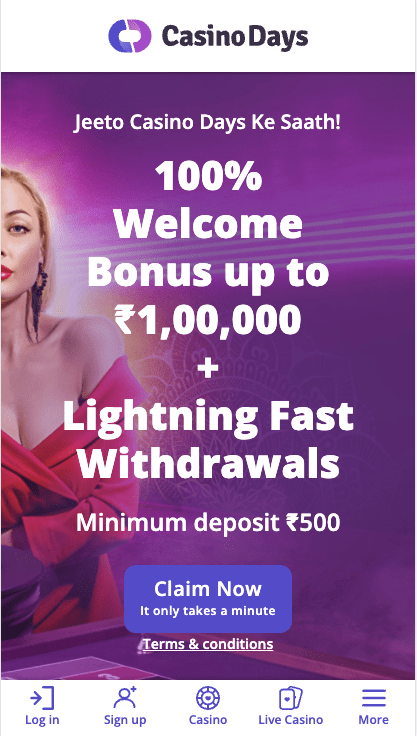 Casino Days New Welcome Bonus up to ₹1,00,000